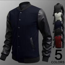 Fashion Contrast Color PU Leather Spliced Long Sleeve Stand Collar Men's Jacket