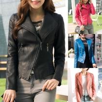 Fashion Solid Color Oblique Zipper Slim Fit PU Leather Jacket