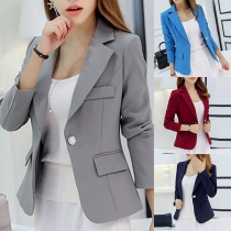 OL Style Long Sleeve Slim Fit Solid Color Blazer