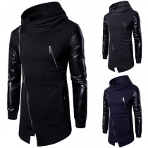 Fashion PU Leather Spliced Long Sleeve Oblique Zipper Men's Sweatshirt Coat