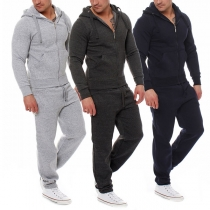 Fashion Solid Color Hooded Sweatshirt Coat + Pants Men's Sports Suit