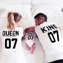 Fashion Letters Printed Short Sleeve Round Neck Parent-child T-shirt