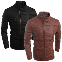 Fashion Long Sleeve Stand Collar Side-zipper Men's PU Leather Jacket