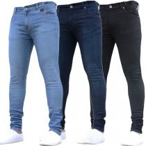 Fashion Fashion Midle-waist Slim Fit Men's Jeans