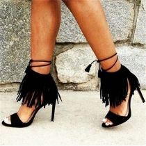 Sexy High-heeled Open Toe Tassel Sandals