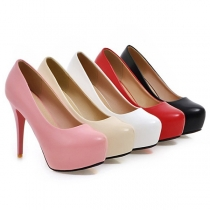 Fashion Solid Color Round-toe High-heeled Shoes
