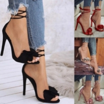 Elegant Solid Color High-heeled Open Toe Lace-up Sandals