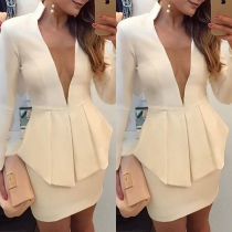 Sexy Deep V-neck Long Sleeve Slim Fit Solid Color Dress