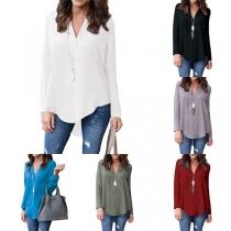 Fashion Solid Color Long Sleeve V-neck High-low Hem Chiffon Blouse