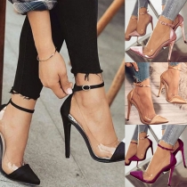 Fashion Contrast Color High-heeled Pointed Toe Shoes