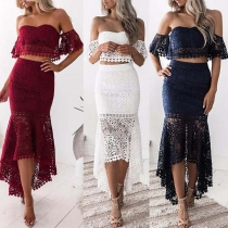 Sexy Off-shoulder Crop Top + High Waist Fishtail Hem Skirt Lace Two-piece Set