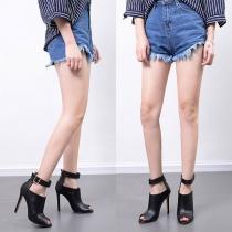 Fashion High-heeled Peep Toe Metal Buckle Shoes