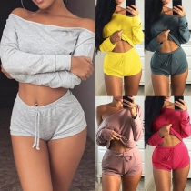 Sexy Solid Color  Boat-neck Long Sleeve Crop Top+ Shorts Two-piece Set