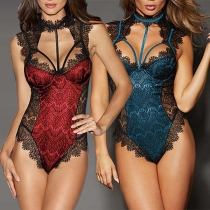 Sexy Backless Lace Spliced One-piece Lingerie