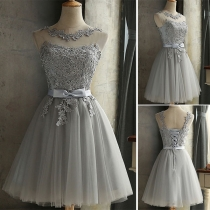 Elegant Solid Color Sleeveless Round Neck Lace Spliced Party Dress