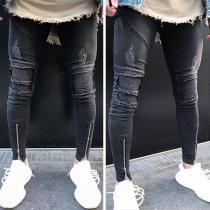 Fashion Solid Color Ripped Zipper Hem Men's Jeans