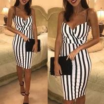 Sexy Backless V-neck High Waist Slim Fit Sling Striped Dress