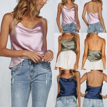 Sexy Solid Color Gallus Backless Sleeveless Vest