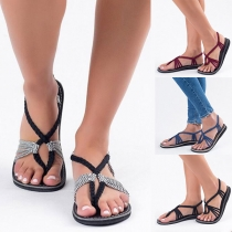 Bohemian Style Flat Heel Knotted Thong Sandals