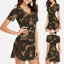 Fashion Short Sleeve V-neck Camouflage Printed Dress
