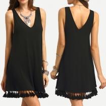 Fashion Solid Color Sleeveless V-neck Tassel Hem Dress