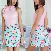 Fashion Sleeveless Round Neck Contrast Color Printed Dress