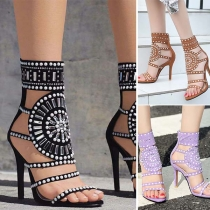 Sexy High Heel Open Toe Rhinestone Inlaid Sandals
