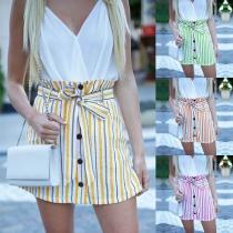 Fashion High Waist Single-breasted Striped Skirt