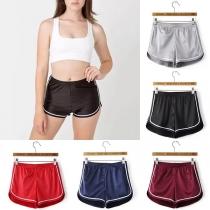 Fashion Solid Color Elastic Waist Sports Shorts