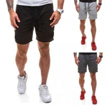 Fashion Solid Color Drawstring Waist Knee-length Men's Sports Shorts