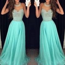 Fashion Halter Contrast Color Gauze Spliced Sleeveless Pleated Long Dress