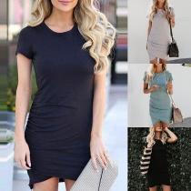 Fashion Solid Color Short Sleeve Round Neck Irregular Hem Dress