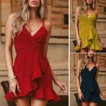 Sexy Backless V-neck Irregular Ruffle Hem Solid Color Sling Dress