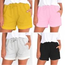 Fashion Solid Color Elastic Drawstring Waist Shorts