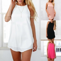 Simple Style Solid Color Sleeveless Round Neck Dress