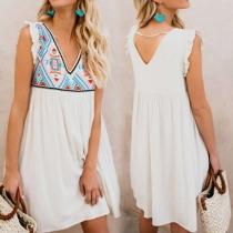 Fashion Sleeveless V-neck Printed Spliced Loose Dress