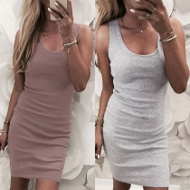 Fashion Solid Color Sleeveless Round Neck Slim Fit Tank Dress