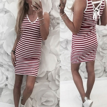 Sexy Lace-up Backless V-neck Sleeveless Slim Fit Striped Dress