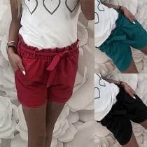 Fashion Solid Color High Waist Short