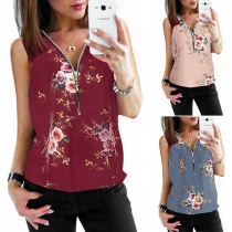 Fashion Deep V-neck Sleeveless Hollow Out Printed Pattern Vest