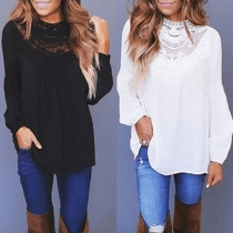 Fashion Solid Color Long Sleeve Round Neck Lace Spliced Blouse