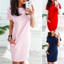 Fashion Round Neck Slant Pocket Short Sleeve Dress