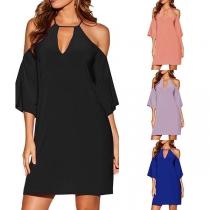 Sexy Off-shoulder Short Sleeve Solid Color Sling Dress
