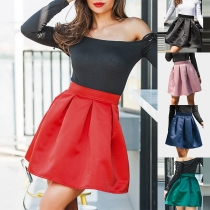 Fashion Sollid Color High Waist Skirt