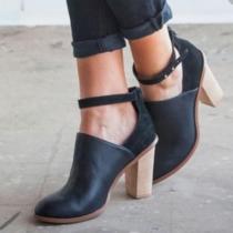 Fashion Thick High-heeled Round Toe Heels Shoes