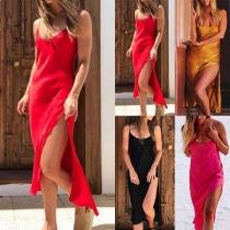 Sexy Backless Slit Hem Solid Color Sling Dress