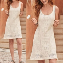 Fashion Solid Color Sleeveless Round Neck Hollow Out Knit Dress