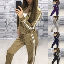 Fashion Striped Spliced Long Sleeve Sweatshirt Coat + Pants Sports Suit