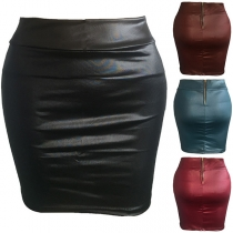 Fashion Solid Color High Waist PU Leather Skirt