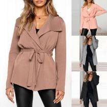 Fashion Solid Color Long Sleeve Lapel Cardigan Coat